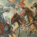 akryl - Stádo 15. - veselý kôň