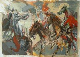 Marek Ormandík - akryl - Stádo 15. - veselý kôň